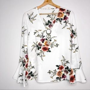 Entro Floral V-Neck Circle Accent Bell Sleeve Top